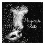 Partie noire et blanche élégante de mascarade invitations personnalisées