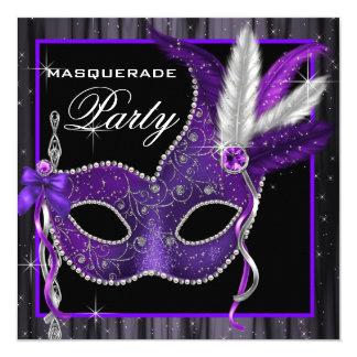 Partie noire et pourpre élégante de mascarade carton d'invitation  13,33 cm