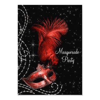 Partie noire et rouge élégante de mascarade carton d'invitation