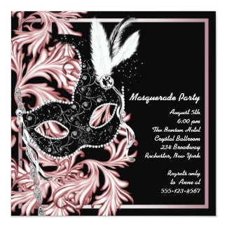 Partie noire rose de mascarade de rose de masque invitations