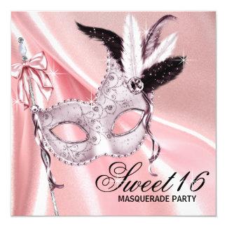 Partie noire rose de mascarade du bonbon 16 carton d'invitation  13,33 cm