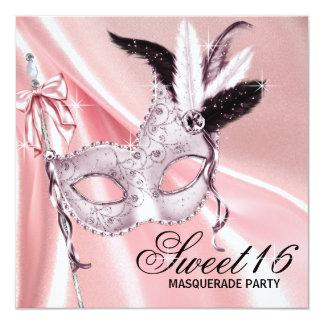 Partie noire rose de mascarade du bonbon 16 cartons d'invitation
