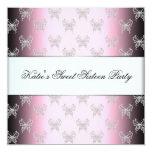 Partie noire rose de sweet sixteen de papillon invitations personnalisées