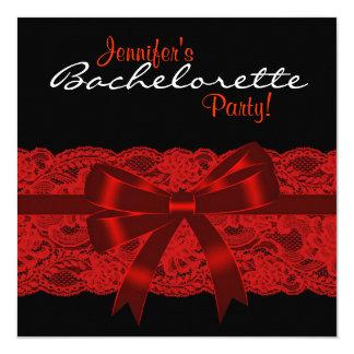 Partie noire rouge de Bachelorette de dentelle Carton D'invitation 13,33 Cm