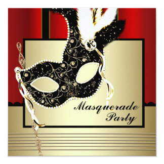 Partie noire rouge de mascarade de masque noir bristols personnalisés