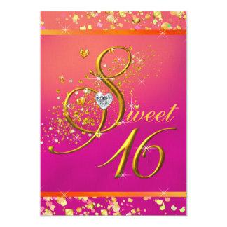 Partie orange et rose de sweet sixteen carton d'invitation  12,7 cm x 17,78 cm
