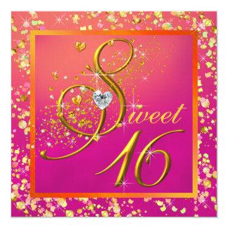 Partie orange et rose de sweet sixteen carton d'invitation  13,33 cm