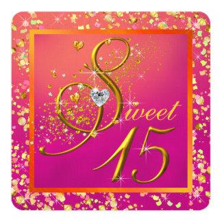 Partie orange et rose du bonbon quinze carton d'invitation  13,33 cm