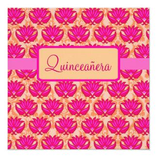 Partie orange rose fuchsia carton d'invitation  13,33 cm