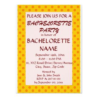 Partie-OrangePolkaDots de Bachelorette, arrière - Carton D'invitation 16,51 Cm X 22,22 Cm