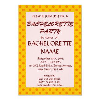 Partie-OrangePolkaDots de Bachelorette, arrière - Carton D'invitation 8,89 Cm X 12,70 Cm
