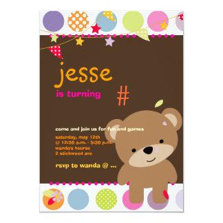 Partie personnalisée minuscule d'ours de nounours carton d'invitation  12,7 cm x 17,78 cm
