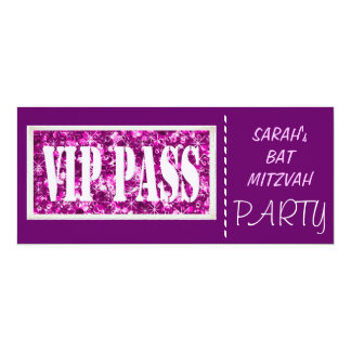 Partie pourpre de bat mitzvah de l'étincelle VIP Carton D'invitation 10,16 Cm X 23,49 Cm