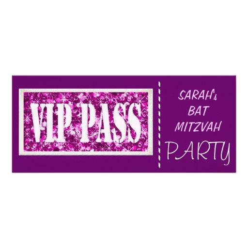 Partie pourpre de bat mitzvah de l'étincelle VIP Invitations