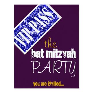 Partie pourpre et bleue du bat mitzvah VIP de Carton D'invitation 10,79 Cm X 13,97 Cm
