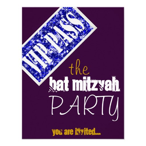 Partie pourpre et bleue du bat mitzvah VIP de Mitz Faire-parts