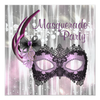 Partie pourpre noire de mascarade invitations personnalisées
