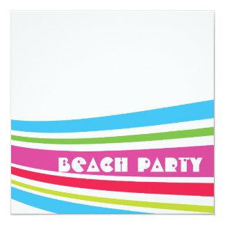 Partie rayée de plage d'océan d'eau salée de carton d'invitation  13,33 cm