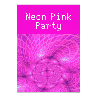 Partie rose au néon carton d'invitation  12,7 cm x 17,78 cm