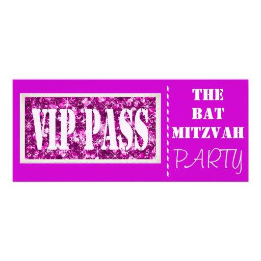 Partie rose de bat mitzvah de l'étincelle VIP Invitations Personnalisées