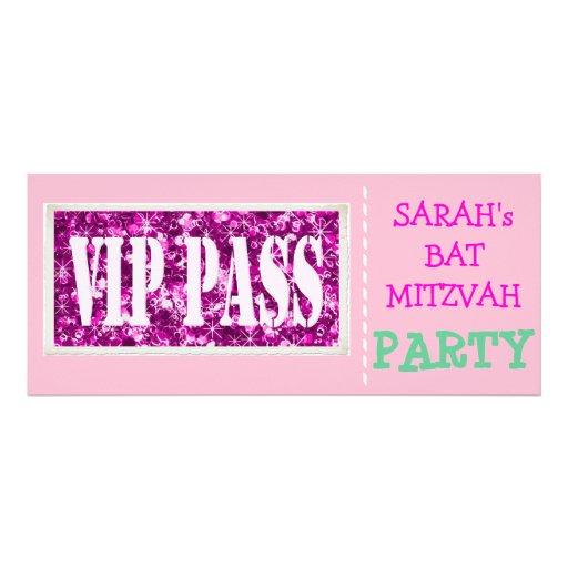 Partie rose de bat mitzvah de l'étincelle VIP Cartons D'invitation Personnalisés