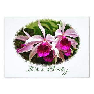 Partie rose d'orchidée de Cattleya Carton D'invitation 12,7 Cm X 17,78 Cm