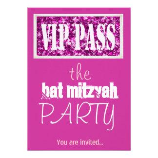 Partie rose du bat mitzvah VIP de Mitzvah de barre Faire-part Personnalisé