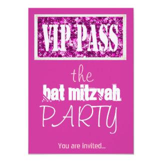 Partie rose du bat mitzvah VIP de Mitzvah de barre Carton D'invitation 11,43 Cm X 15,87 Cm