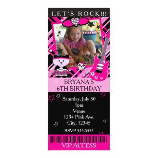 Partie rose du billet VIP de rose de chat de Kitty Carton D'invitation 10,16 Cm X 23,49 Cm