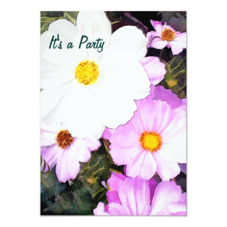 Partie rose et blanche de cosmos carton d'invitation  12,7 cm x 17,78 cm