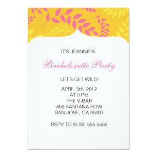 Partie rose et orange de Bachelorette de feuillage Carton D'invitation 12,7 Cm X 17,78 Cm