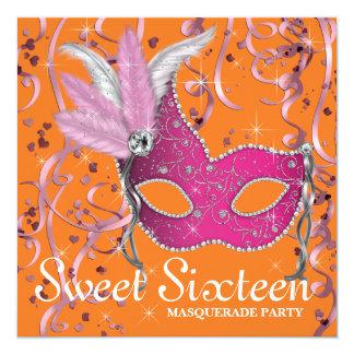 Partie rose et orange de sweet sixteen carton d'invitation  13,33 cm