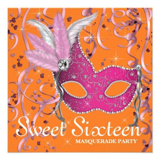 Partie rose et orange de sweet sixteen invitation personnalisable