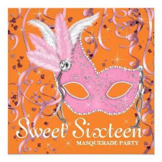Partie rose et orange de sweet sixteen faire-part personnalisé