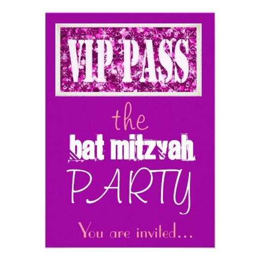 Partie rose et pourpre du bat mitzvah VIP Carton D'invitation