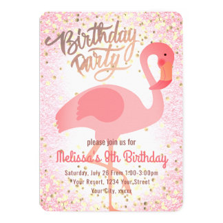 partie rose girly mignonne de flamant carton d'invitation  12,7 cm x 17,78 cm