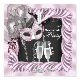 Partie rose noire de mascarade de Champagne Carton D'invitation 13,33 Cm