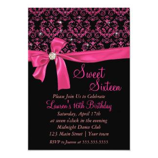 Partie rose noire élégante de sweet sixteen de carton d'invitation  12,7 cm x 17,78 cm