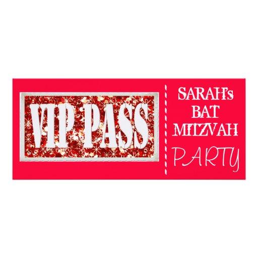 Partie rouge de bat mitzvah de l'étincelle VIP Faire-parts