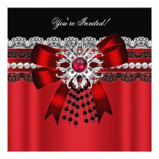 Partie rouge élégante 2 de dentelle d'argent de di cartons d'invitation