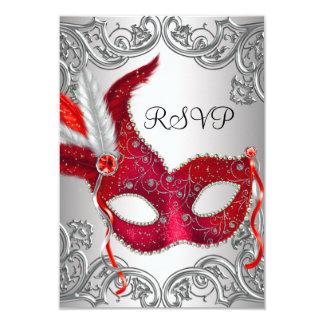 Partie rouge RSVP de mascarade de masque Carton D'invitation 8,89 Cm X 12,70 Cm