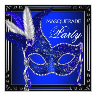 Partie royale de mascarade de masque de bleu carton d'invitation  13,33 cm