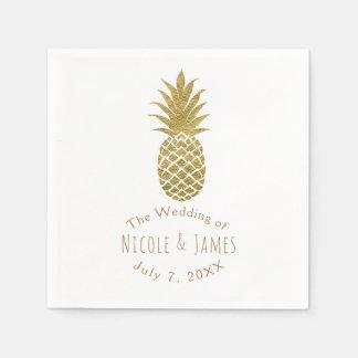 Partie tropicale chic moderne blanche d'ananas serviette jetable