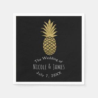Partie tropicale chic moderne de noir d'ananas serviette jetable