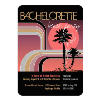 Partie tropicale de Bachelorette de palmier de Carton D'invitation 11,43 Cm X 15,87 Cm