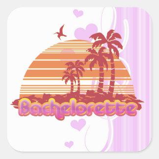 partie tropicale de bachelorette d'Hawaï de Sticker Carré