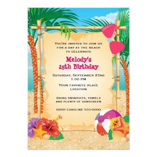 Partie tropicale de plage invitation personnalisable