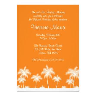 Partie tropicale orange de Quinceanera de palmier Carton D'invitation 12,7 Cm X 17,78 Cm