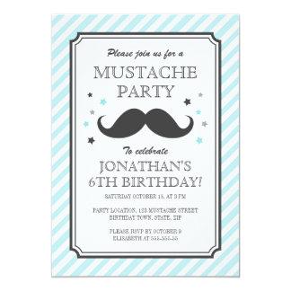 Partie turquoise d'anniversaire de enfant de coup carton d'invitation  12,7 cm x 17,78 cm