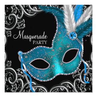 Partie turquoise de mascarade de noir bleu invitation